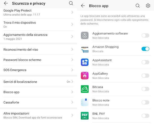 funzionalità blocco app android