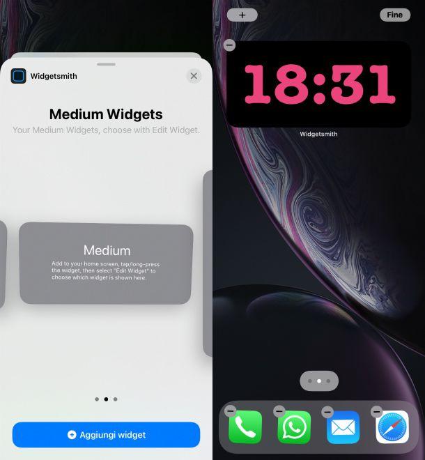 Aggiungi widget Widgetsmith