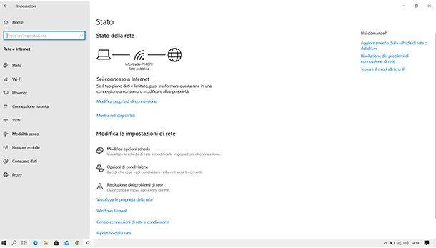 Verificare la connessione Internet su Windows 10