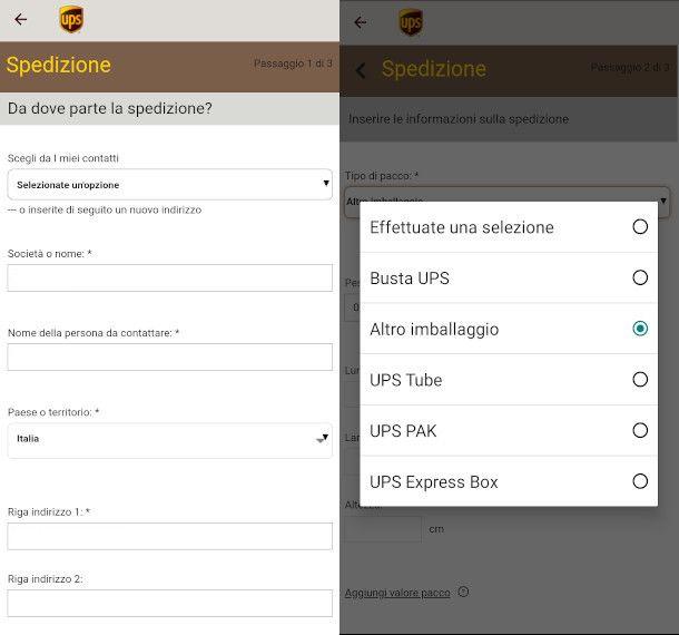creare spedizione UPS da app
