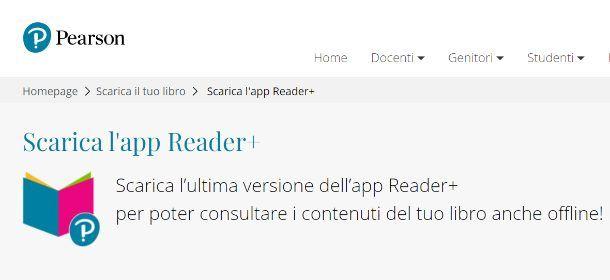 Accedere ai libri digitali Pearson con l'app Reader+