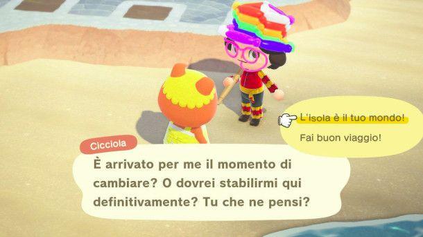Dialogo con un abitante in Animal Crossing: New Horizon