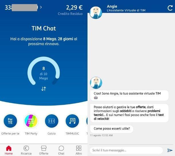 App MyTIM Angie Assistente virtuale