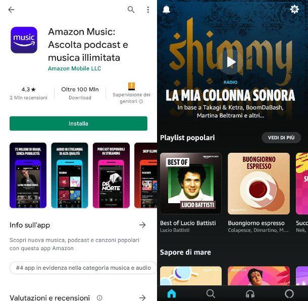 App di Amazon Prime Music