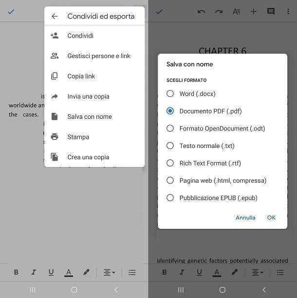 Esportare il documento in PDF e salvarlo sul dispositivo