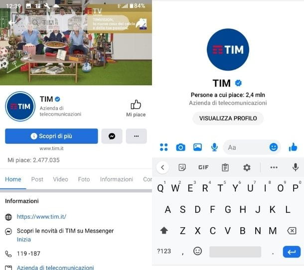 Contattare TIM da Facebook