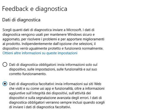 Impostazioni per il download dell'aggiornamento con Windows 11 beta
