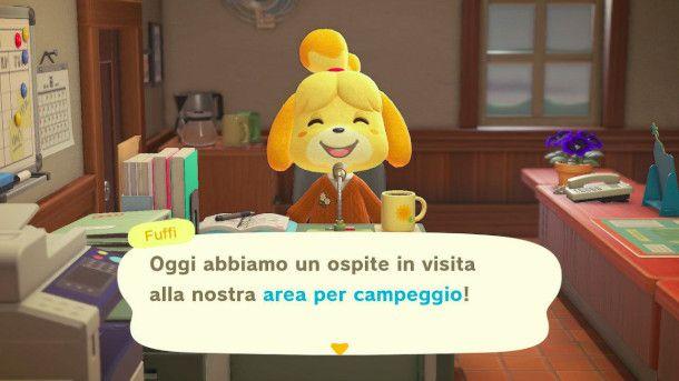 Annuncio di un visitatore in Animal Crossing: New Horizon