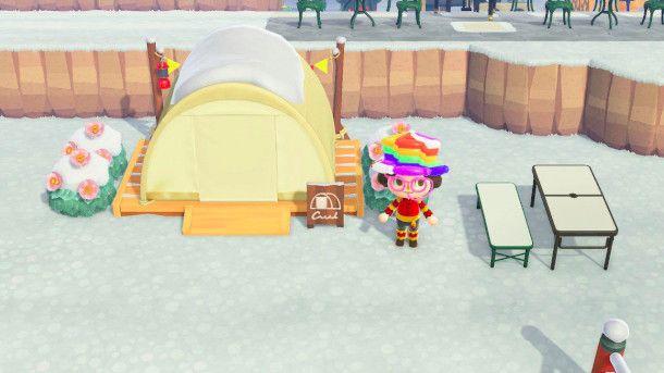 Accampamento in Animal Crossing: New Horizon