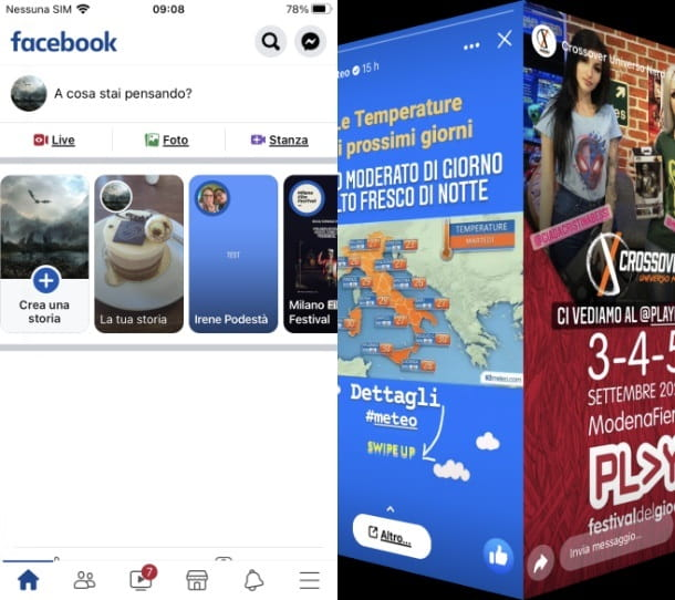 storie facebook app