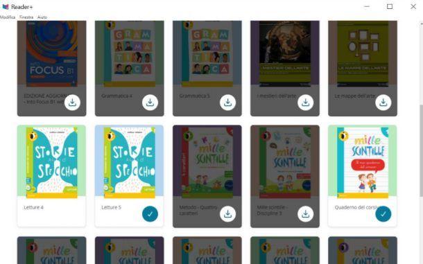 Applicazione Reader+ su desktop