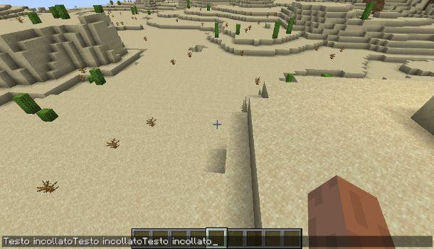 Incollare testo su Minecraft