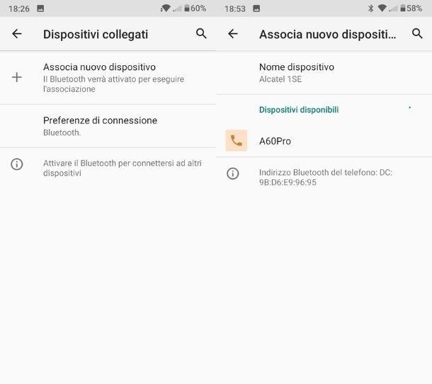 Impostazioni Bluetooth Android