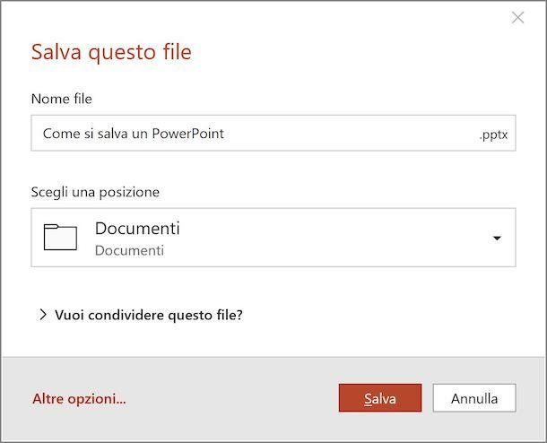Microsoft PowerPoint salvataggio