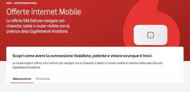 Offerte Internet Mobile sito Vodafone