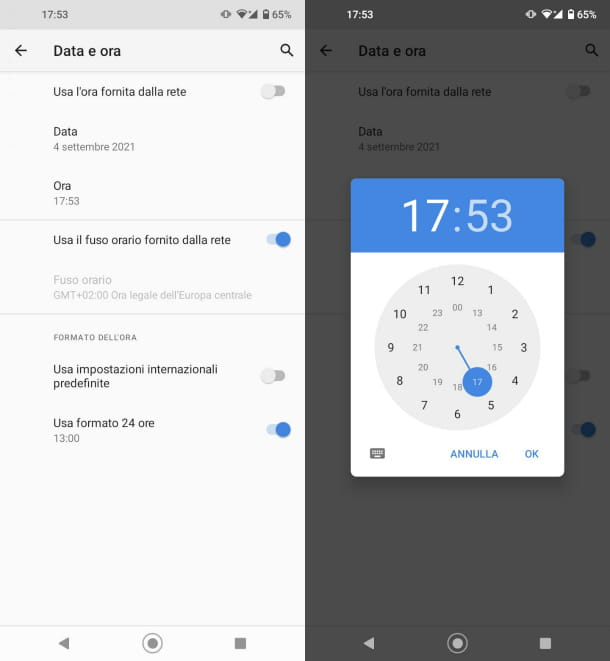 Data e ora Android