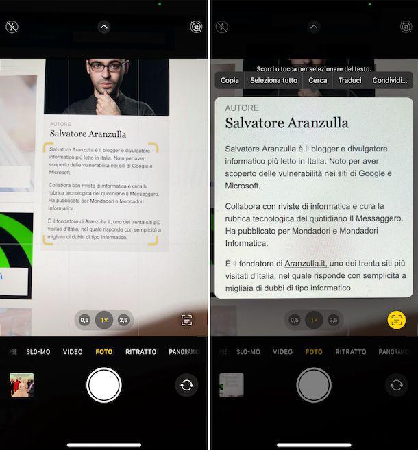 Testo attivo iOS 15