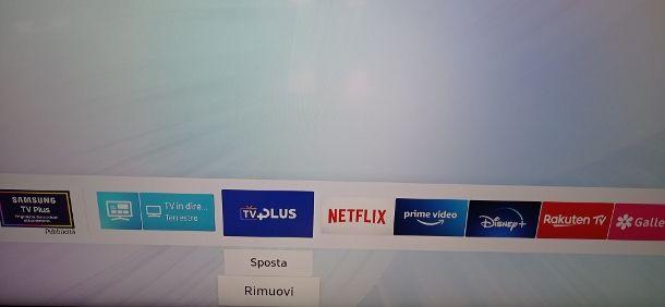 Rimuovere Samsung TV Plus
