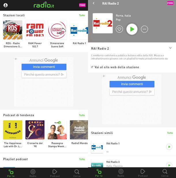 schermate app radioit