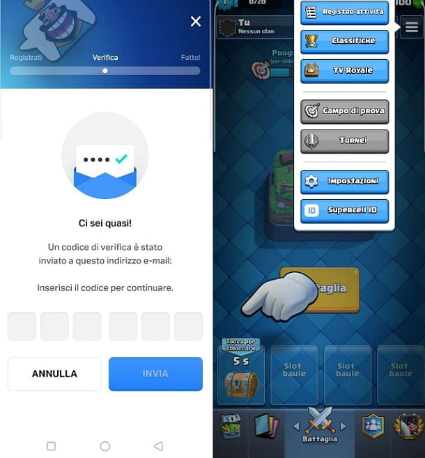 Nuovo account Clash Royale Android