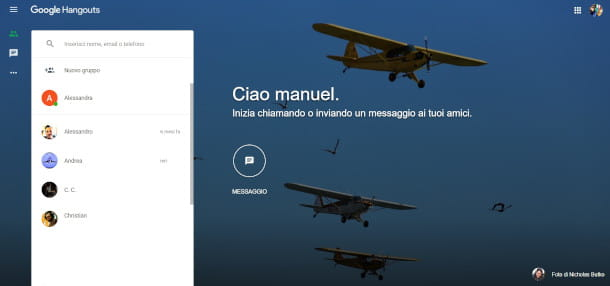 schermata principale sito hangouts