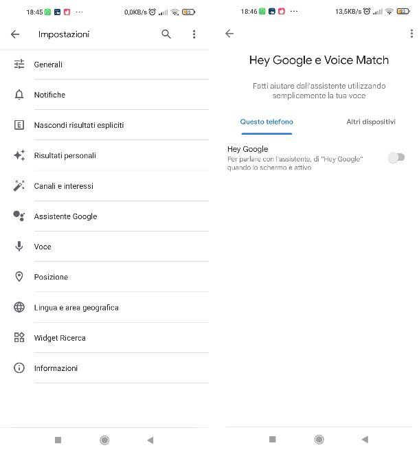 Disattivare Hey Google