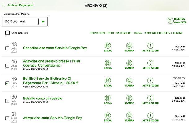 scaricare ricevuta pagoPA tramite Home Banking