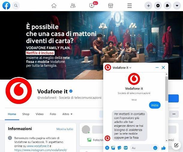 Contattare servizio clienti Vodafone su Facebook