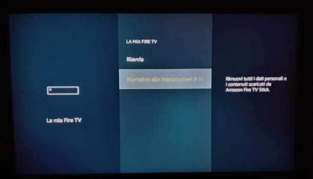 reset impostazioni di fabbrica fire tv stick