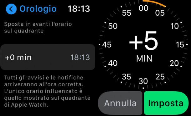 Spostare in avanti l'orario su Apple Watch