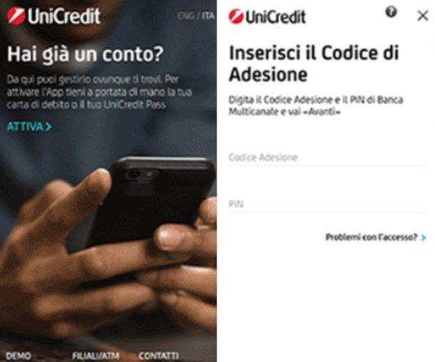 Attivare l'app UniCredit da smartphone