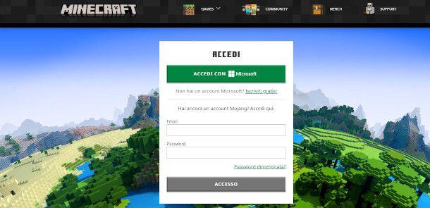 creazione account Microsoft per Minecraft da PC