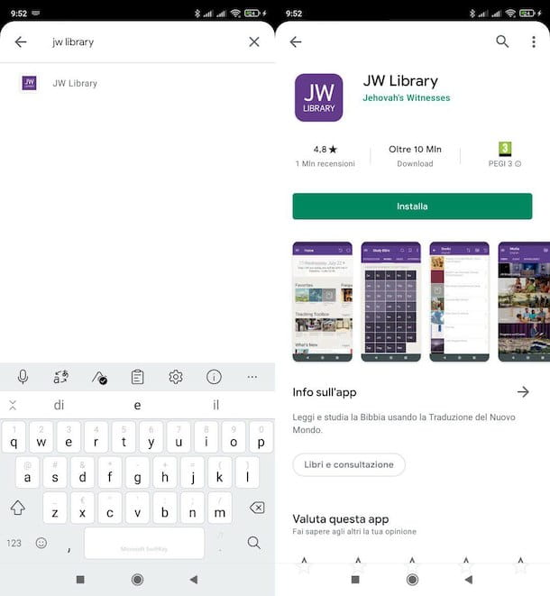 Come scaricare JW Library su Android dal Play Store