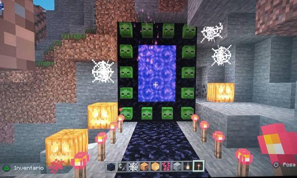 decorare il portale del Nether in stile Halloween