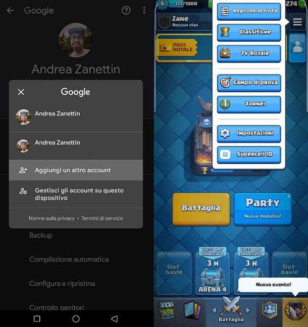 Come aggiungere account Google Android Clash Royale