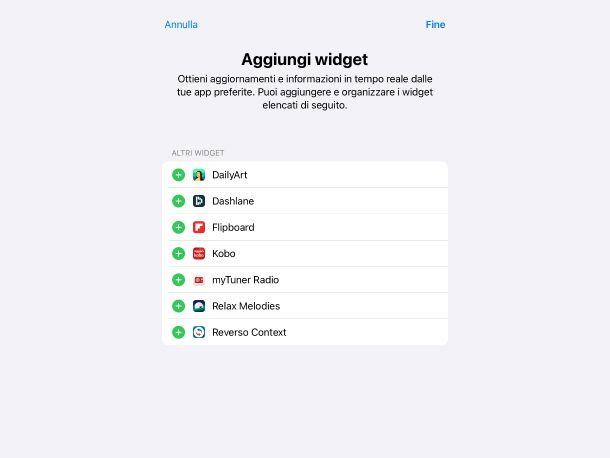 Aggiungere widget da Personalizza su iPad