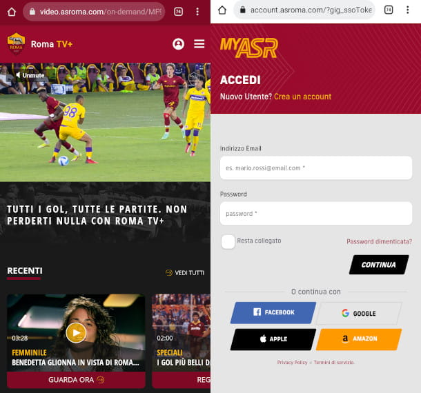 roma TV+ su mobile