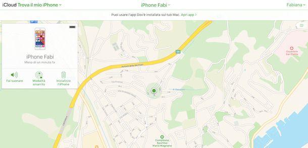 Dov'è iCloud iPhone