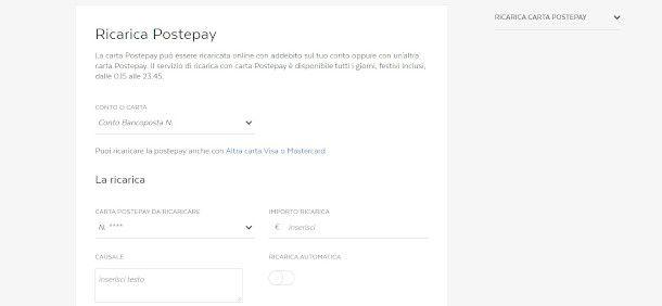 Ricarica postepay digital sito poste