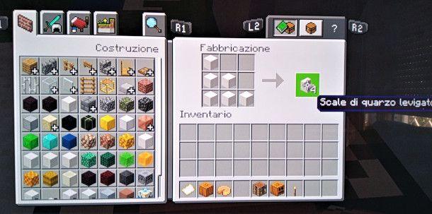 come fare scalini su Minecraft