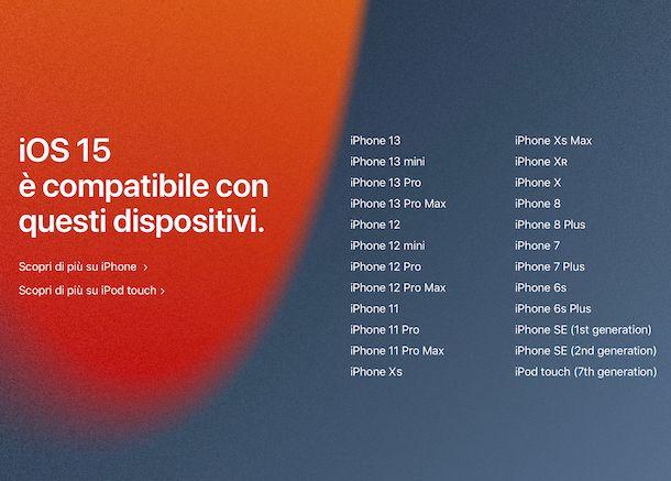 Compatibilità iOS 15