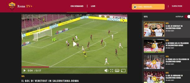 interfaccia piattaforma digitale Roma TV+