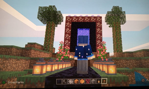 portale del Nether decorato con elementi naturali