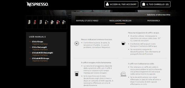 assistenza online Nespresso