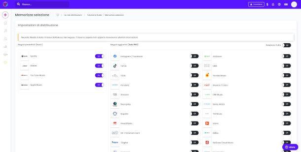 Selezione piattaforme di Indiefy
