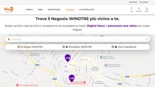 Trova Negozio sito WINDTRE
