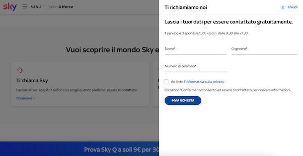 Modulo per essere contattati da Sky