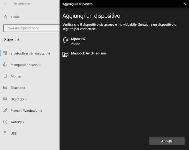 Impostazioni Bluetooth Windows
