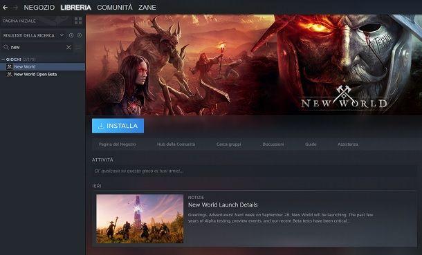 Come scaricare New World da Steam PC Windows