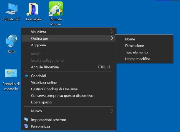 Come spostare icone sul desktop: Windows 10